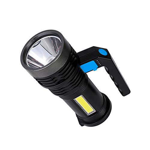 TTAototech Highlight 3 modos de iluminación linterna eléctrica linterna portátil recargable impermeable lámpara de iluminación con una lámpara lateral