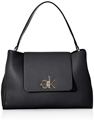 Calvin Klein Damen Re-lock Top Handle Satchel Umhängetasche, Schwarz (Black), 14.5x24x34 cm