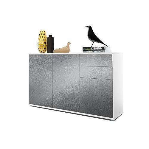 Vladon Kommode Sideboard Ben V3, Korpus in Weiß matt/Fronten in Scratchy Metal