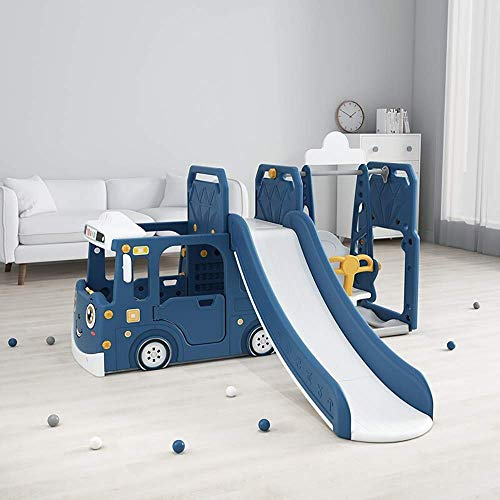 SANON Children's indoor car slide toy multifunctional baby slide home small slide swing combination blue car slide swing with basketball standChildren's indoor playground WTZ012 (Color : Blue)