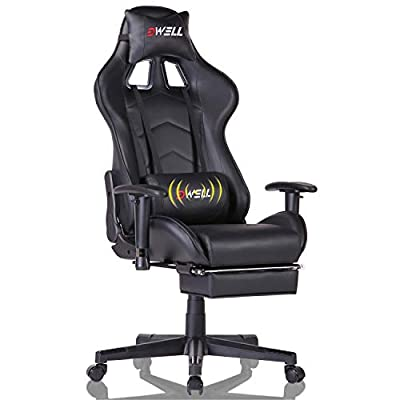 EDWELL Home Office Chair Ergonomic Gaming Chair with Headrest and Lumbar Massage Support?Racing Style PC Computer Chair Height Adjustable Swivel with Retractable Footrest by