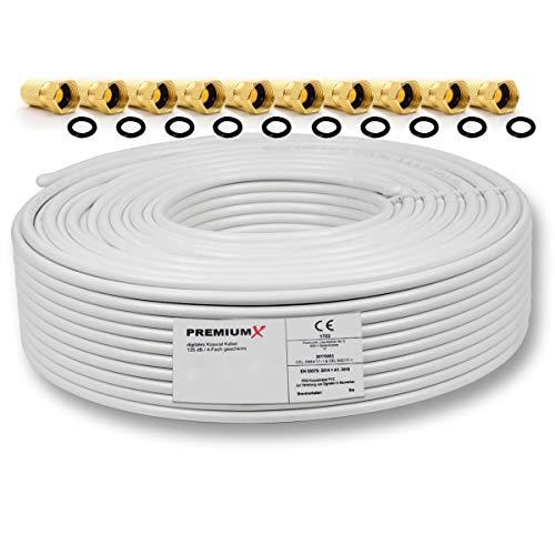 PremiumX 50m Koaxialkabel 135dB 4-Fach SAT Antennenkabel Koaxkabel für DVB-S / S2 DVB-C DVB-T BK Anlagen SAT-Kabel 10x F-Stecker 0,36 €/m
