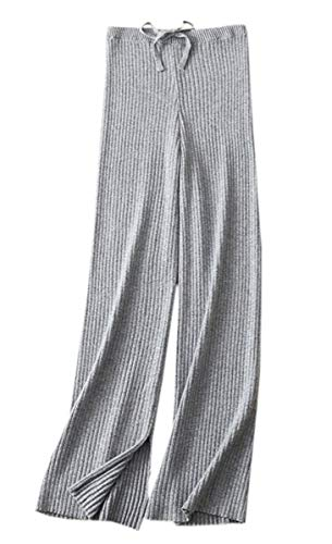 SANGTREE Women's Solid Plain High Waist Drawstring Knit Wide Leg Cashmere Lounge Pants, Grey, Small