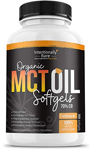 Organic 70% C8 MCT Oil Capsules - Keto, Paleo, Low Carb - Easy & Sustainable Ketosis, Energy & Focus - Great for Travel & Appetite Suppression - Unflavored, Non-GMO - 1000mg per Capsule, 300 Capsules