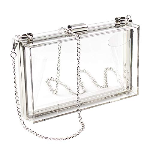 WJCD Women Clear Purse Acrylic Clear Clutch Bag, Shoulder Handbag With Removable Gold Chain Strap(Silver)