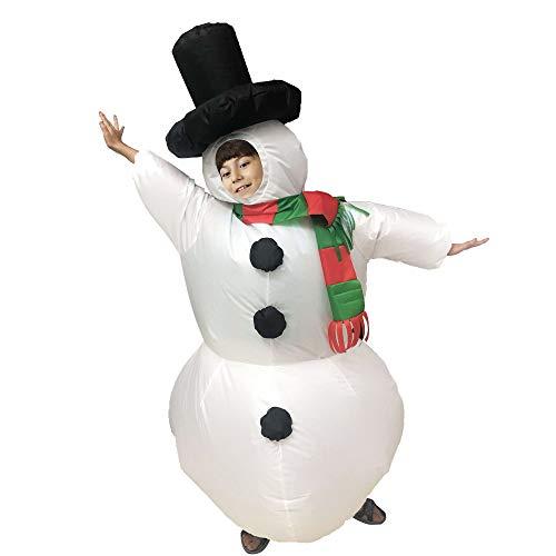 Godyluck Niños Adultos muñeco de Nieve Inflable Disfraces de Navidad Traje Inflable de Cuerpo Completo