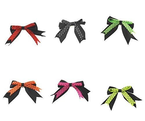 Zac's Alter Ego Lot de 6 nœuds à cheveux double satin à pois sur barrette Neon Pop