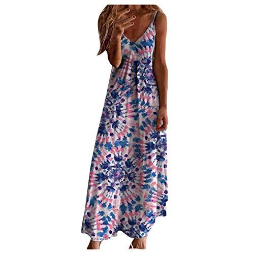XWANG Vestido maxi para mujer, estilo informal, para verano, sin mangas, cuello en V, suelto, estampado floral, cintura alta 37-azul XXL