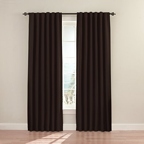 ECLIPSE Fresno Thermal Insulated Single Panel Rod Pocket Darkening Curtains for Living Room, 52' x 84', Espresso