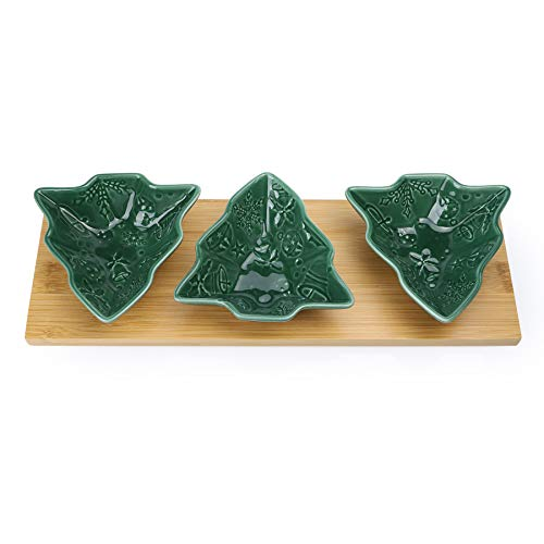 Sweese 743.117 Christmas Candy Dishes, 3 Pieces Chip and Dip Bowls Set, Tree Shaped Sauce Dishes with Bamboo Tray for Christmas Party Snacks, Nuts, Condiments, Appetizers, Ketchup, Wasabi, Green