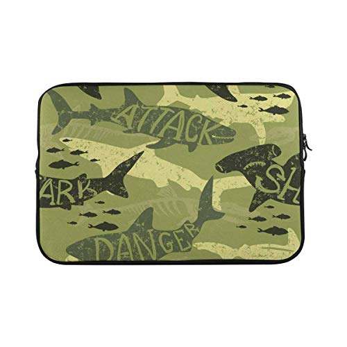 INTERESTPRINT 11 Inch 11.6 Inch Laptop Neoprene Sleeve Bag Camouflage Shark Pattern Notebook Computer Carrying Case Cover