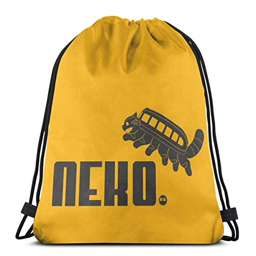 brandless Drawstring Bag Sport Gym Sack Party Favor Bags Wrapping Gift Bag Drawstring Backpack Storage Goodie Bags Cinch Bag - Neko Neighbors to-t-oro Cat Bus