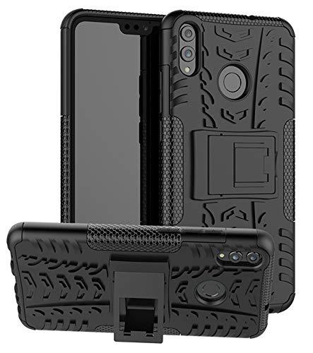 Yiakeng Handyhülle für Huawei Honor 8X Hülle, Doppelschicht Stoßfest Schlank Silikon 360 Grad Schutz Mit Ständer für Huawei Honor 8X (Schwarz)
