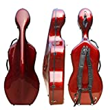 Funda rígida para violonchelo 4/4 de fibra de carbono mixta, tamaño completo, carcasa rígida fuerte, ligera, 4,5 kg, soporta 300 kg de presión