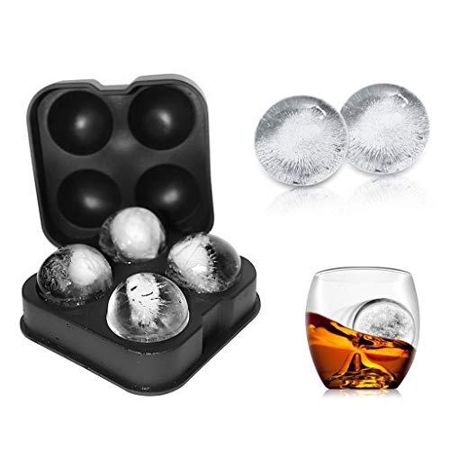 NYKKOLA Moule à glaçons en silicone souple 4 boules de glaçons rondes de 4,5 cm Noir