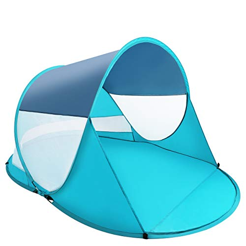 ISILER Pop Up Beach Tent, 4-5 Person 86×57×47 inches Sun Shelter, Portable Outdoor Beach Shade Tent, UPF 50+ Baby Beach Shelter, Easy Setup Windproof Waterproof Beach Canopy Cabana with Carry Bag