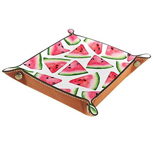 AMEILI Dekoratives Schmucktablett aus Leder mit Wassermelonen-Schnalle, für Schlüssel, Telefon, Münzen, Geldbörse, Uhren etc., Rosa