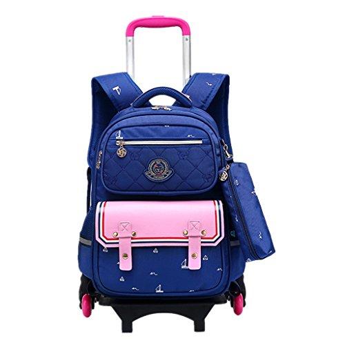 Enfants Sac à Dos à roulettes - Garçons Filles Rolling Bag Chariot Cartable Sac d'école Primaire Sac d'école Imperméable Bagages pour Etudiant