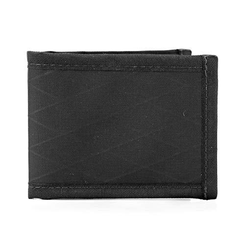 Flowfold Vanguard Minimalist Bifold Wallet - Ultralight, Slim Wallet, Front Pocket Wallet & Made in USA Wallet (Black)