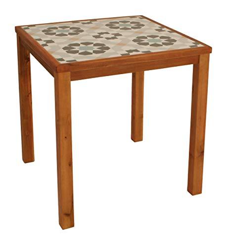 DEGAMO Gartentisch SANTA CLARA quadratisch 65x65cm, Rahmen und Untergestell Eukalyptus Holz, Tischplatte Keramik mit Muster, wetterfest