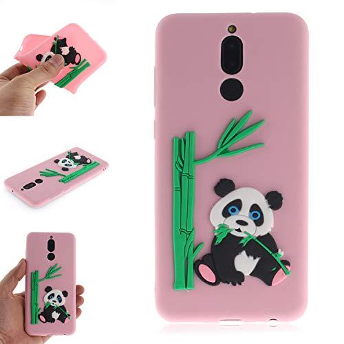 JCKHM Hülle kompatibel mit Huawei Mate 10 lite Hülle Silikon,Panda isst Bambus-TPU-Schale Hülle Silikon Liquid Silikon Ultra dünn Komplettschutz,Anti-fall Etui Weich stoßfest,Pink,EINWEG packet