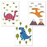 kizibi 3er Poster Set Dinos DIN A4 | Kinderzimmer