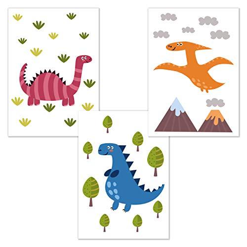kizibi 3er Set Dinos DIN A4 Poster für Kinderzimmer und Babyzimmer, Kinderposter Deko Jungen und Mädchen, Dinosaurier Kinderzimmerbilder, Wandbild ohne Bilderrahmen | Premium Kunstdruck Wandposter