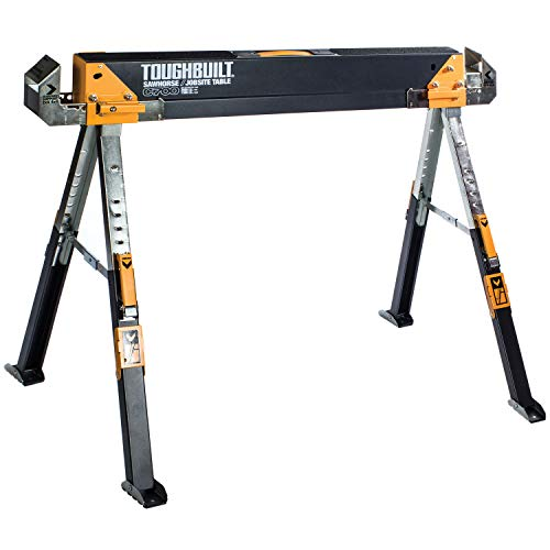 ToughBuilt - Folding Sawhorse/Jobsite Table - Adjustable up to 4 x 4 Size Support Arms 1300 LB Capacity - (TB-C700)