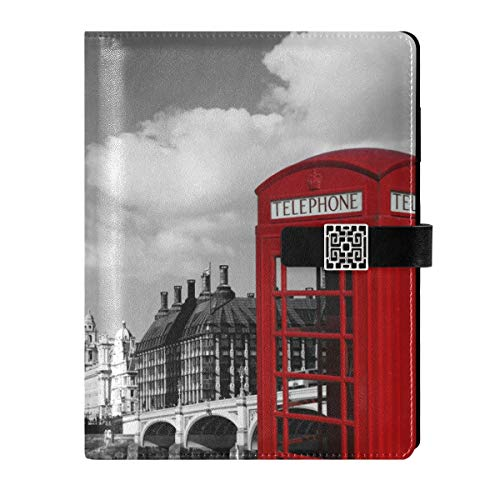 Cuaderno de cuero para diario diario de viaje, cajas de teléfono rojas, rellenables, tamaño A5, cuaderno de tapa dura, regalo para mujeres y hombres