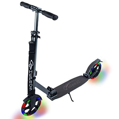 Hepros - Patinete de 200 mm con luces LED para patinete de ciudad, adultos, rodamientos de rueda de cerámica híbrida antracita (carbono)