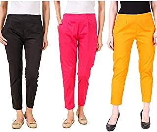 ALIYAA New Stylist Very Comfort Cotton Lycra Casual WEAR STRACHEBLE Pencil Pant for Women's & Girl's