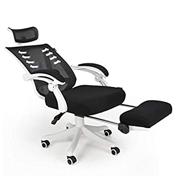 Hbada Reclining Office Desk Chair | Adjustable High-Back Ergonomic Computer Mesh Recliner | Home Office Chairs with Footrest and Lumbar Support White