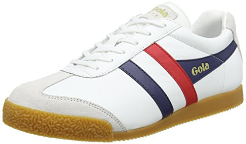 Gola Herren Harrier Leather Sneaker, Weiß (White/Navy/red), 44 EU
