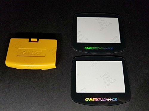 ClassicGameSource Gelbe Batterieabdeckung Logo + 2 Glas Holo-Bildschirm für Game Boy Advance