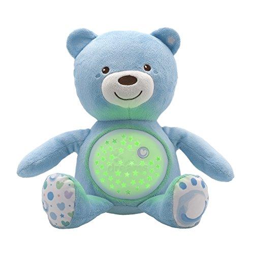 Chicco First Dreams Baby Bär Plüsch-Teddybär, weicher Projektor mit Nachtlicht, Lichteffekten und entspannenden Melodien, Blau - Kinderspielzeug 0+ Monate