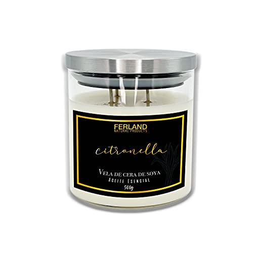 Velas aromaticas, velas, aromatizante para hogar,vela aromatica, 500 gramos 17 onzas, cera de soya natural (CITRONELA)