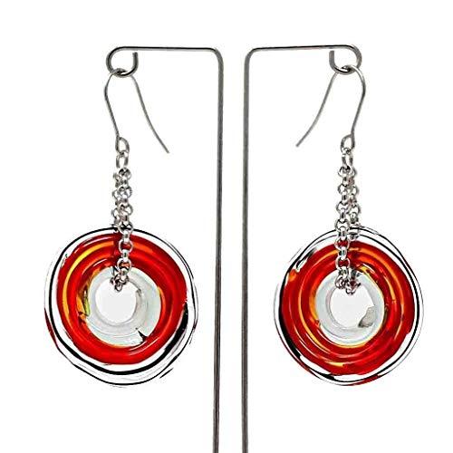 Pendientes de cristal de murano en rojo   Cadena y colgante de...