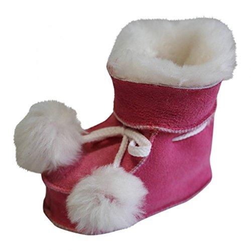 Hollert Leather Baby Lammfellschuhe Pummelchen Pink Krabbelschuhe Fellschuhe aus 100% Merino Schaffell Größe EUR 20/21