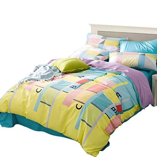AHJSN High - Density Pure Cotton Langstapelige Baumwolle Vierteilige Baumwollbettwäsche mit Vier Teilen. (Farbe: Blau, Größe: 150-180 cm) 180 cm Gelb