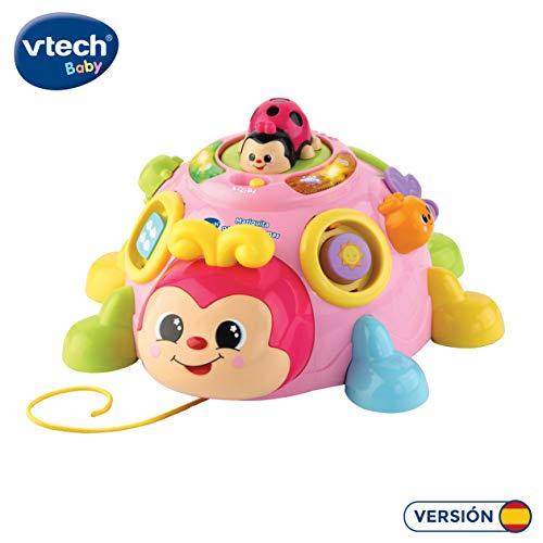 VTech - Mariquita Pasitos y formas, Simpático Juguete de Arrastre encajable para Aprender Formas, Animales, números y Vocabulario sobre la Naturaleza, Color Rosa (3480-522357)