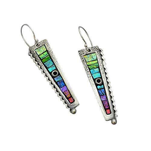 Ruby569y Pendientes para mujer, estilo abstracto en forma de zigzag con forma de arco iris, para citas, multicolor