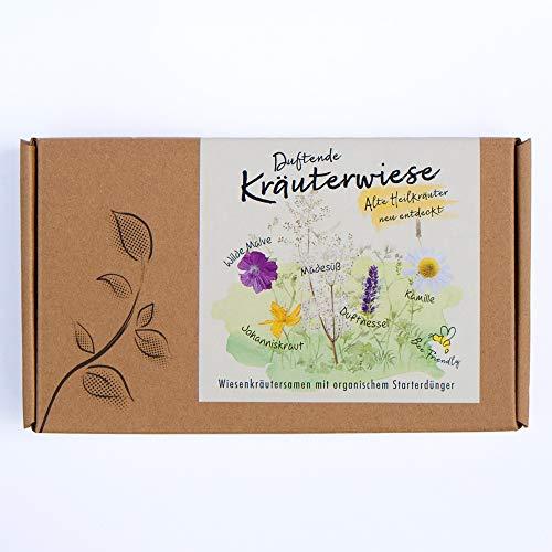 DUFTENDE KRÄUTERWIESE Kräutersamen-Geschenkbox - 5 Sorten alte Heilkräuter inkl. Starterdünger