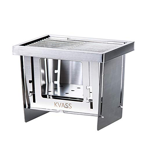 KVASS バーベキューコンロ 折りたたみ 焚き火台 コンパクト キャンプ用品 卓上コンロ 折り畳みコンロ ミニ BBQグリル 1台3役 瞬時に展開・収納 ステンレス鋼