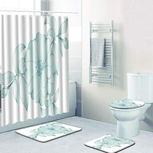 OMUSAKA Badematte Duschvorhang Anti Rutsch Teppich? Badteppiche mit Haken WC-Matte für Wohnkultur eingestellt