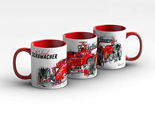 gasoline.gallery Formel 1 Tasse - Michael Schumacher - Scuderia Ferrari - 2004 Front Kaffeebecher Rot
