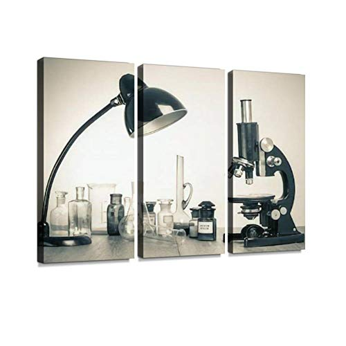 HABEN ARTWORK Old Laboratory Glass Retro Microscope and Desk lamp Vintage Style Print On Canvas Wall Artwork Modern Photography Home Decor Unique Pattern Stretched and Framed 3 Piece
