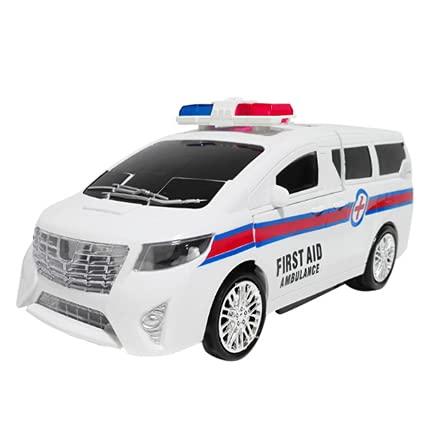 HSCW Coche de control remoto blanco, Transform Police Toy Cars, Scale Deformation RC Robot Vehicle con transformación de un botón, Deriva de 360 grados, Luces LED, Gran regalo de juguetes para niños
