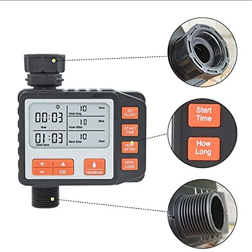 HoJoor Irrigazione Timer - 3 4  Temporizzatore per Irrigatore Digitale LCD Timer Irrigazione modalità Programmabile Filetto Timer Automatico per Giardino Annaffiatura con Coperchio Impermeabile - 011