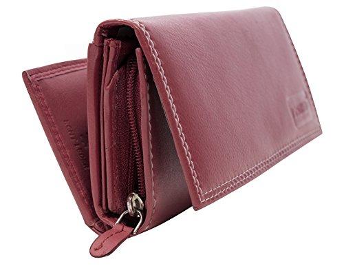 Damen Geldbörse Leder Lang mit viele Kreditkarten Fächer Portemonnaie Echtleder Geldtasche Brieftasche Franko (BB11-Weinrot)