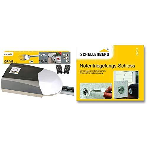 Schellenberg 60910 Garagentorantrieb Drive SD10 für Tore bis 10 m², 600N, inkl. 2 Handsender 433 MHz und Notentriegelung & 60511 Notentriegelungs-Schloss Notentriegelungsschloss